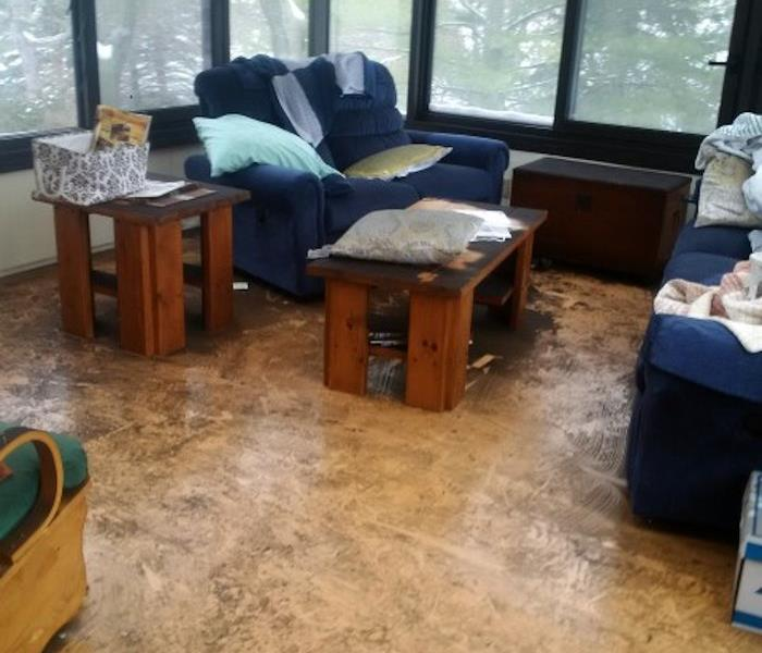 sunroom with contents fire damaged